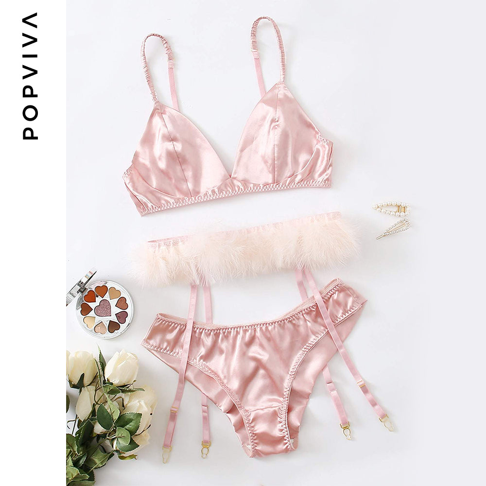 Pink Silk Underwear Set