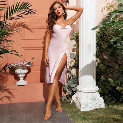 Pink Split Thigh Backless Satin Cami Nightdress