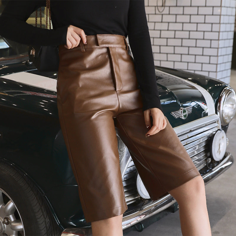Pu Leather High Waist Motocycle Half Pants