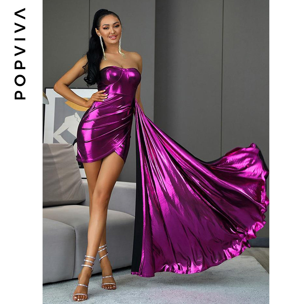 Purple Large Streamer Reflective Material Mini Party Dress