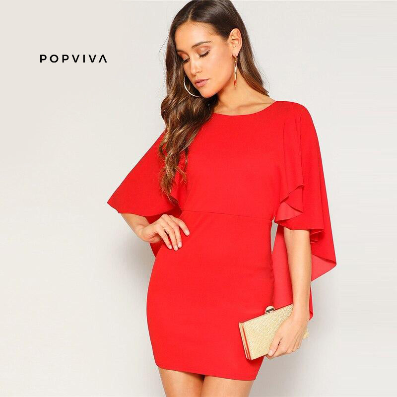 Red Ruffle Cloak Sleeve Going Out Mini Dress