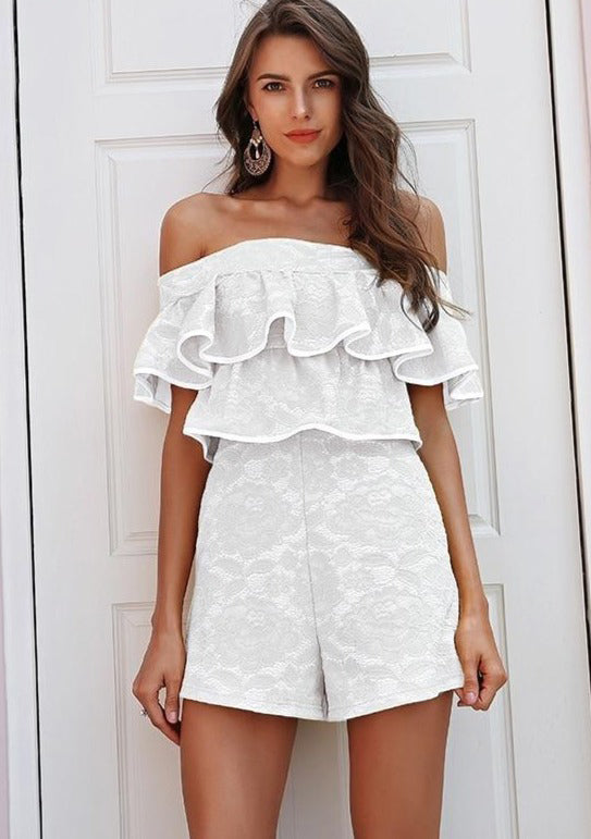 Ruffled Off Shoulder Solid Playsuit