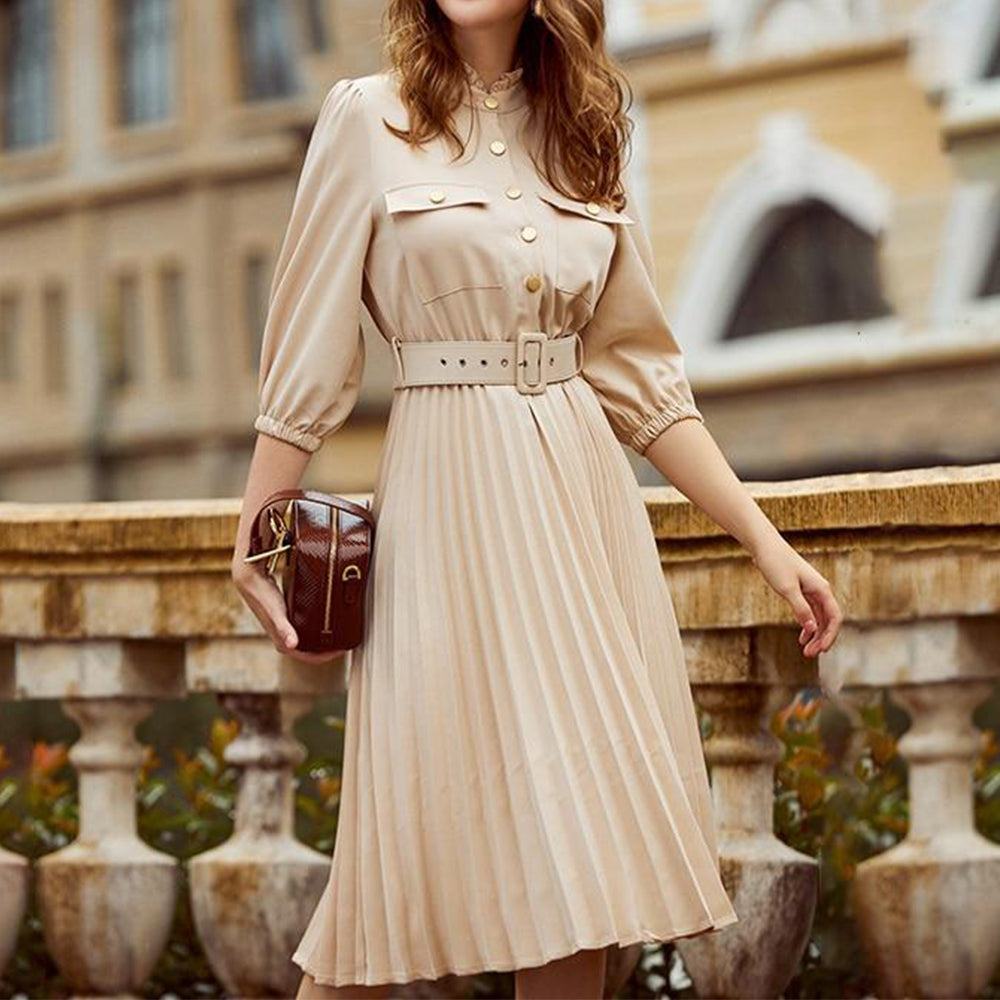 Ruffled Pleated Belt Office Midi Dress