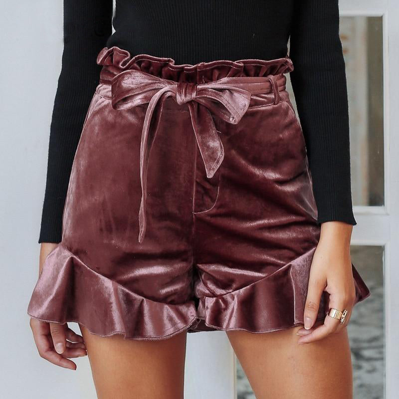 Ruffles Bow Lace Up Velvet Shorts