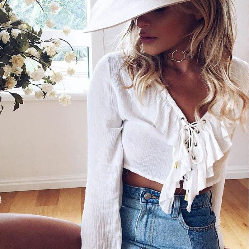 Ruffles Lace Up Chiffon V Neck Crop Top