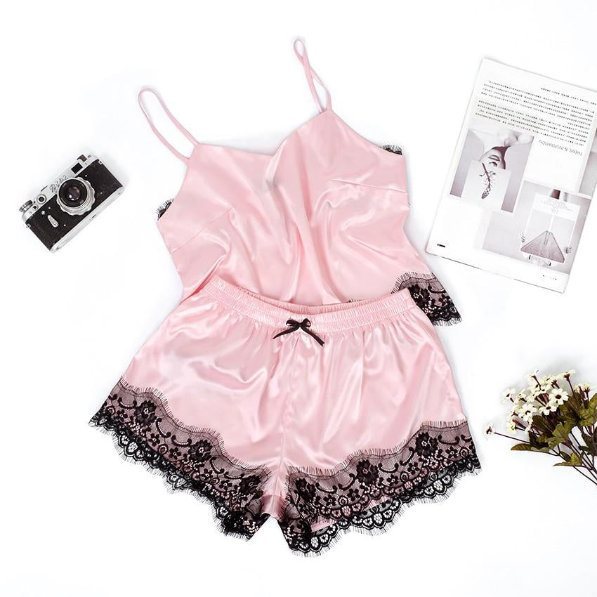 Satin Cami Top Bow Knot Shorts Silk Slip Lace Pajama Set