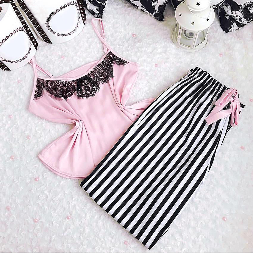 Pink Satin Cami Top Striped Pants Lace Pajama Set