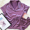 Satin Nightshirt With Shorts Silk Pyjama Set