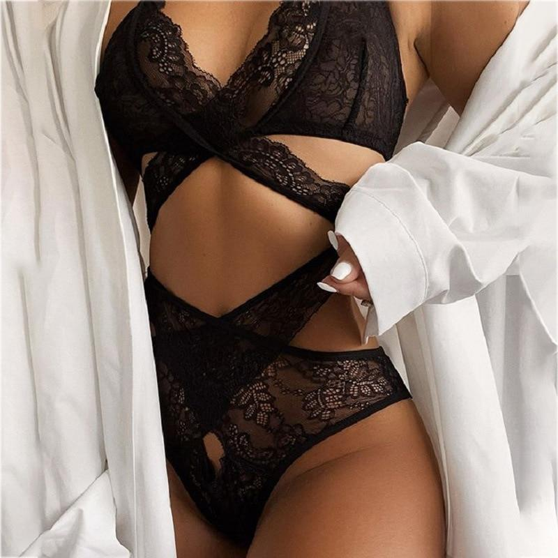 Sexy Black Hollow Out Lace Lingerie Set