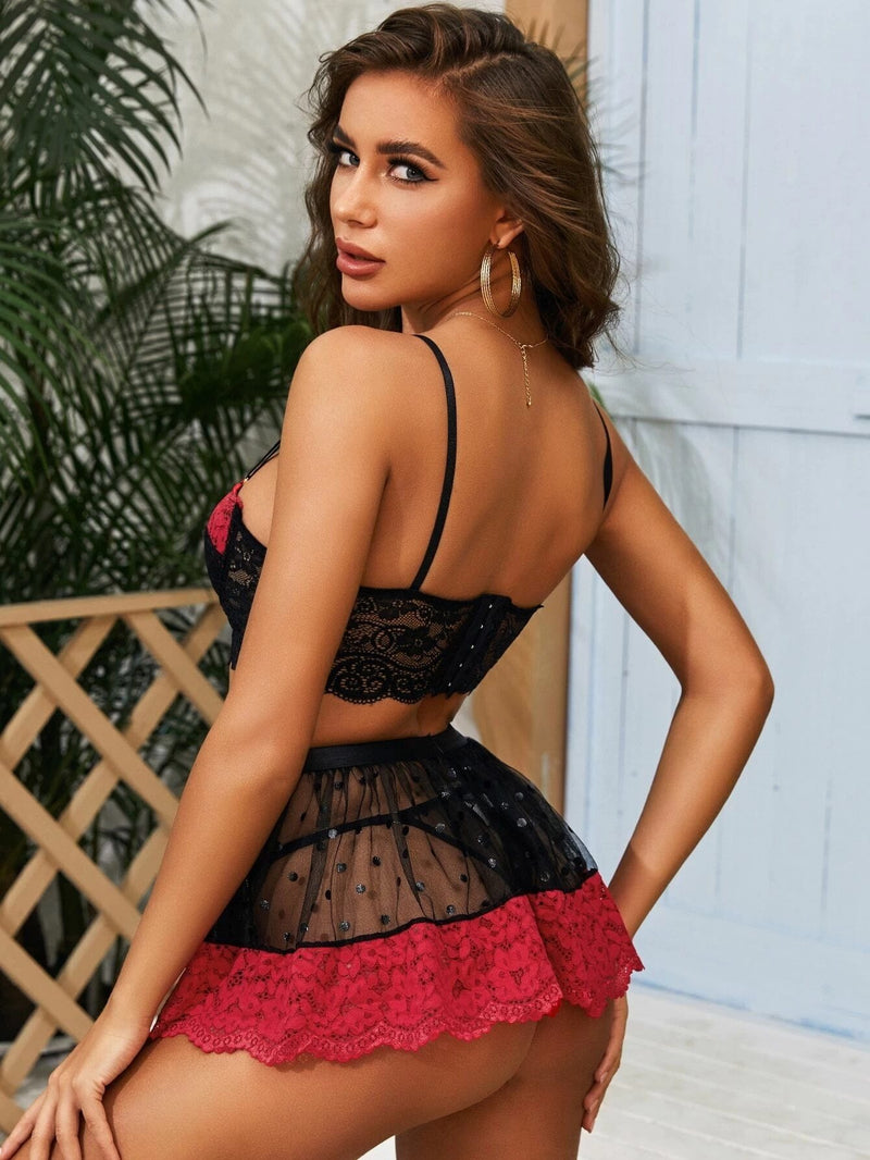 Sexy Floral Embroidery 3 Piece Lingerie Set