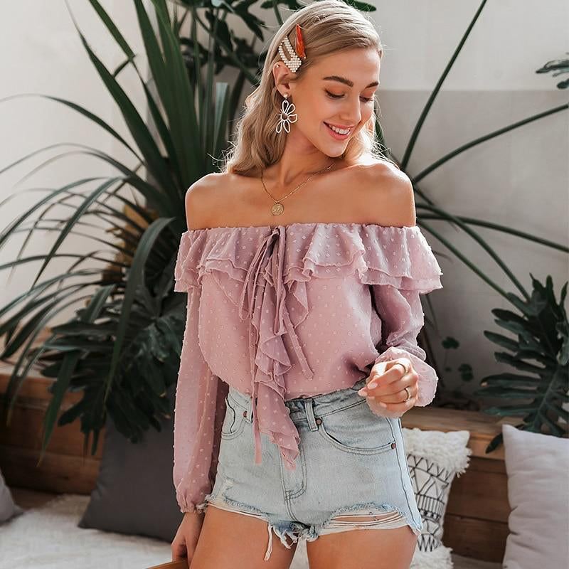 Sexy Off Shoulder Ruffle Dot Blouse