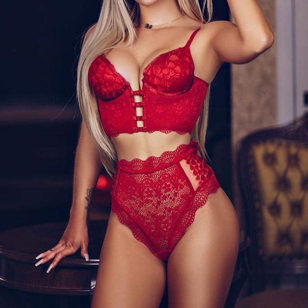 Sexy Red High Waist Panties Lace Lingerie Set