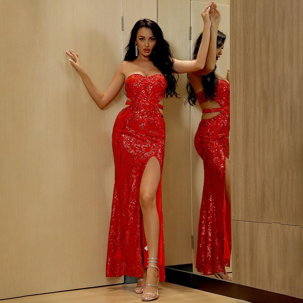 Sexy Tube Top Cut Out Red Sequins Bodycon Party Maxi Dress