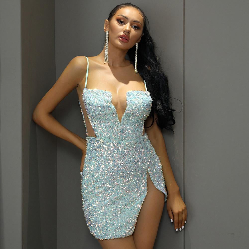 Sexy Tube Top Cut Out Sequin Bodycon Party Mini Dress