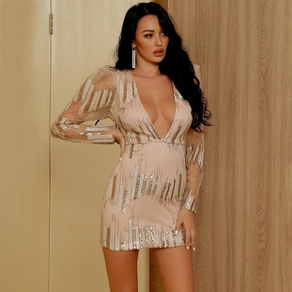 Sexy V-Neck Geometrical Mesh Sequin Bodycon Party Mini Dress