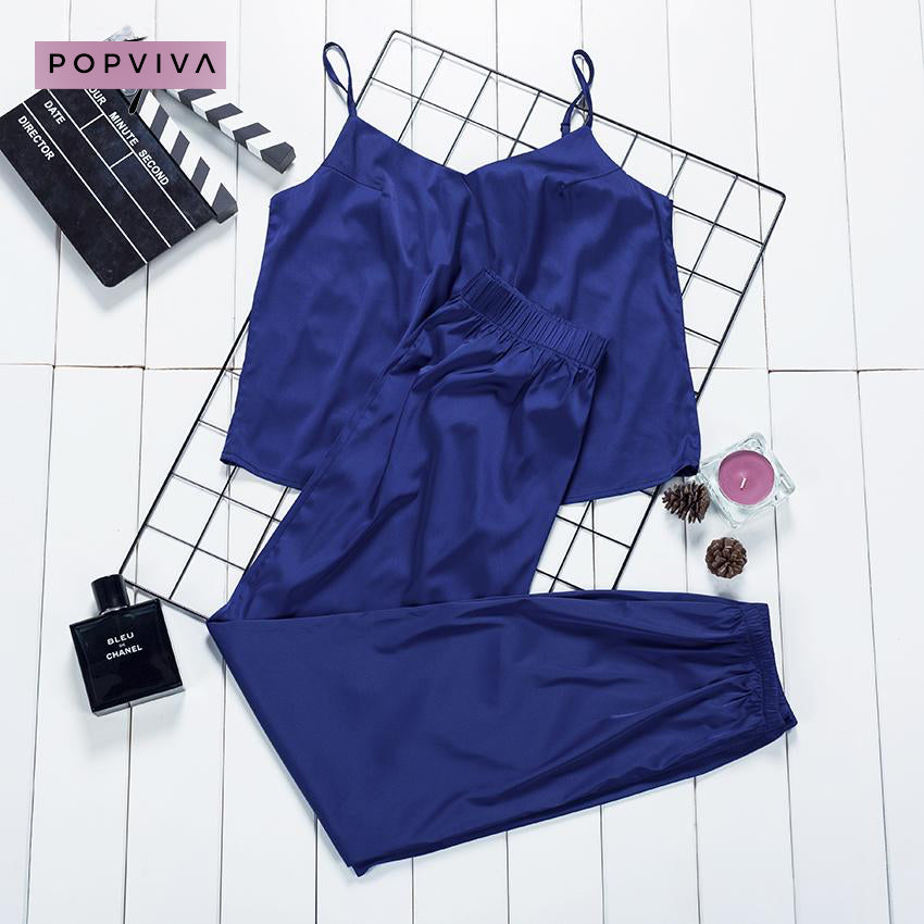 Silk Satin Blue Crop Top Cami Pyjama Set