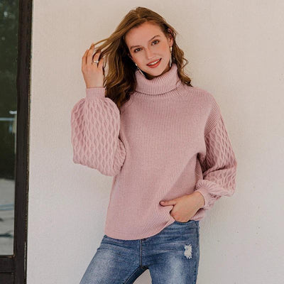 Solid Color Turtleneck Knitted Pullover