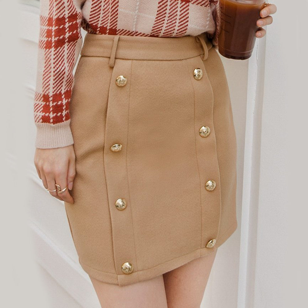 Solid Double Breasted Slim Skirt