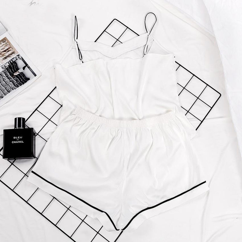 Spaghetti Strap Cami Top White PJ Set