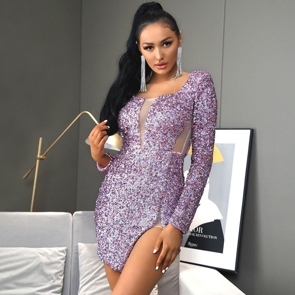 Square Collar Purple Sequins And Mesh Bodycon Party Mini Dress