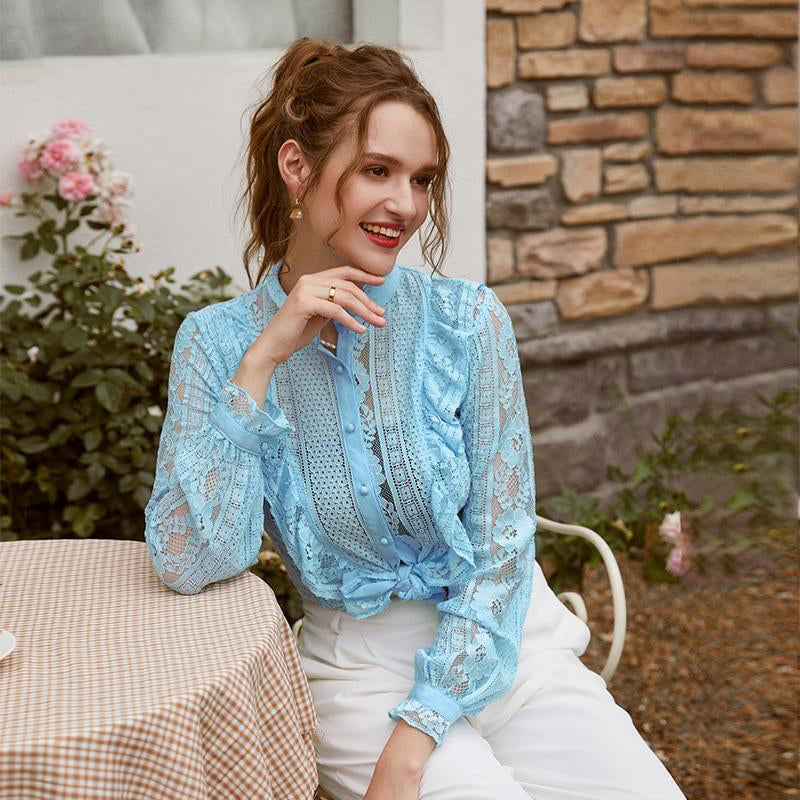 Stand Collar Lace Ruffle Blouse