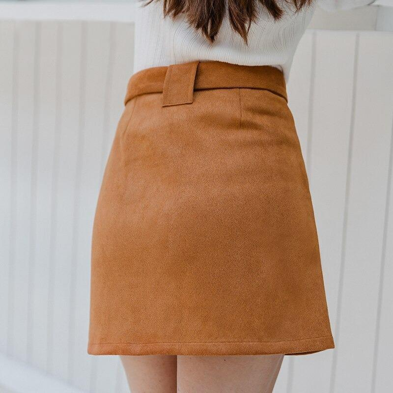 Suede Metal Buckle Belt Skirt