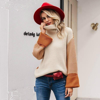 Turtleneck Knitted Long Sleeve Loose Pullover