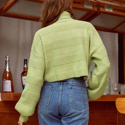 Turtleneck Patchwork Knitted Pullover