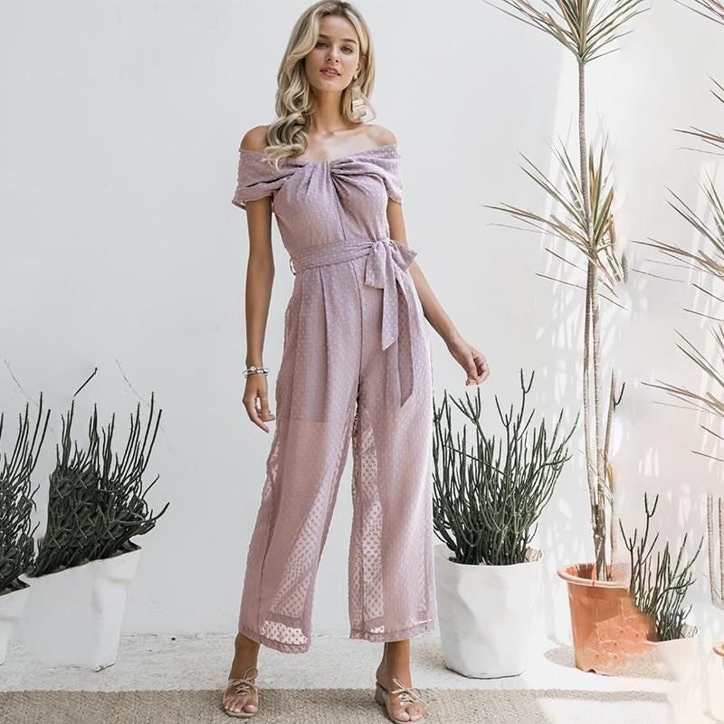 Twist Front Swiss Dot Belted Jumpsuit