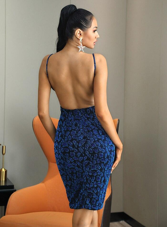 V-Neck Open Back Blue Leopard Party Bodycon Midi Dress