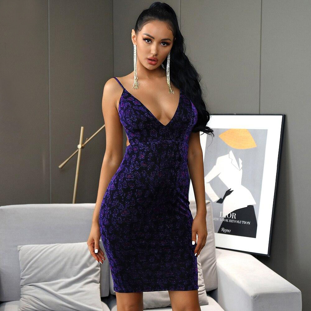 V-Neck Open Back Purple Leopard Bodycon Party Midi Dress