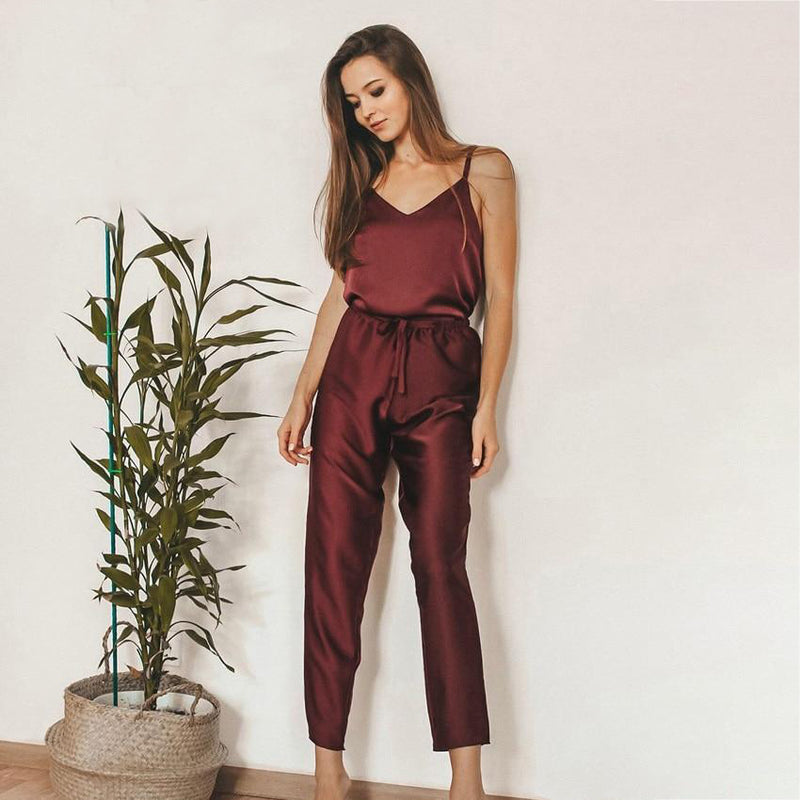V-Neck Solid Satin Top And Pants Pajama Set