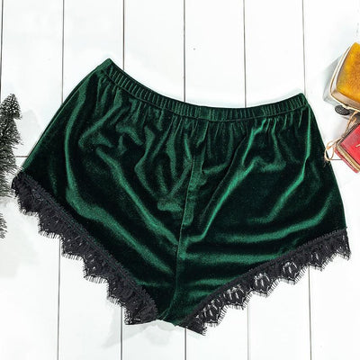 Velvet Lace Top Cami And Bow Short Pajama Set