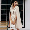 Vintage Office V Neck Shawl Cloak Sleeveless Blazer