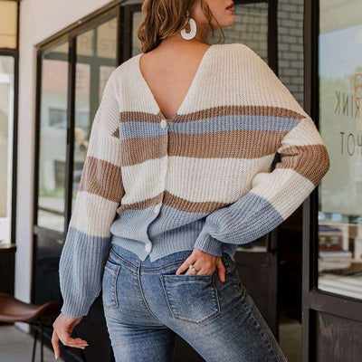 Vintage Striped Knitted Cardigan
