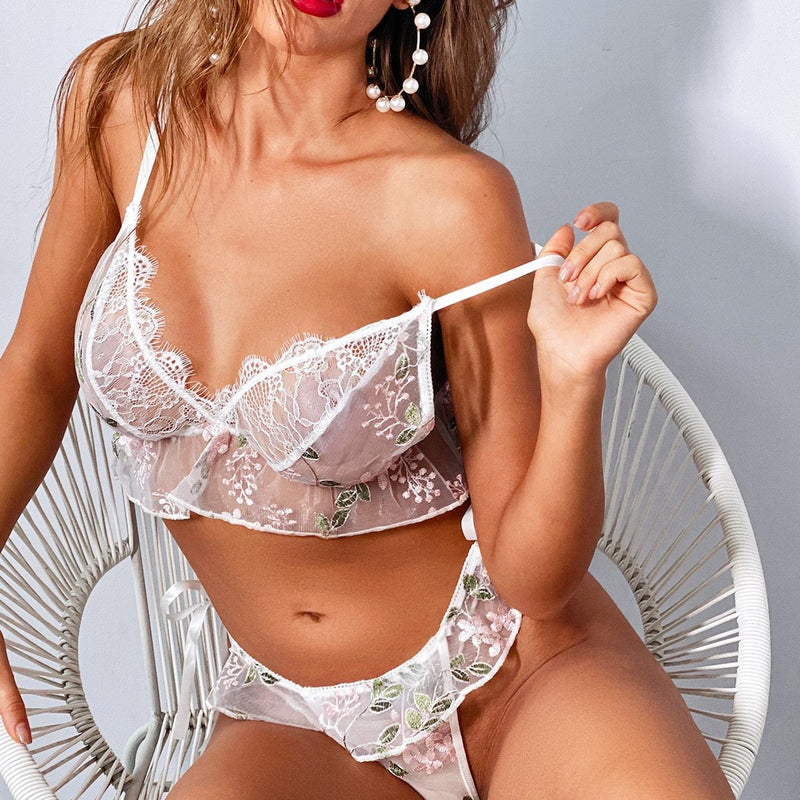 White Ruffled Mesh Lingerie Set
