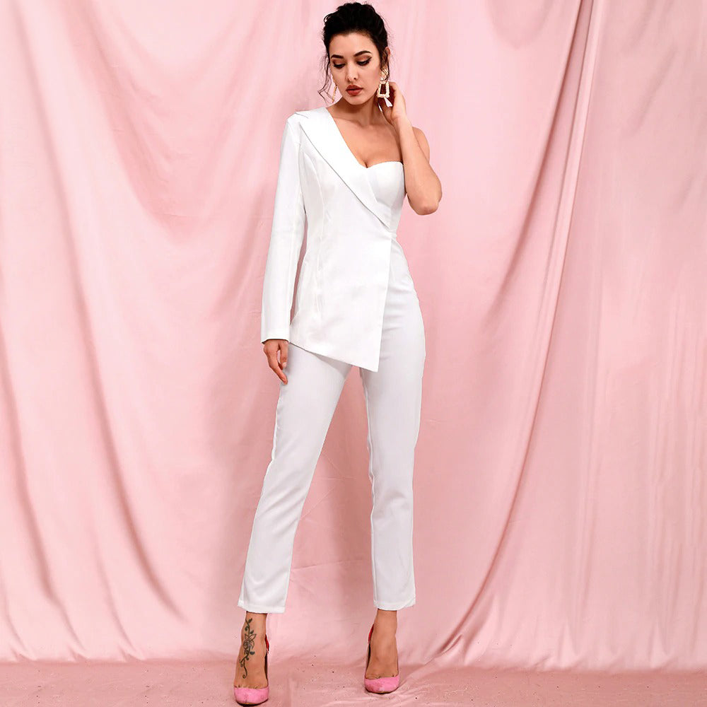 White Tube Top Two Piece Single Sleeve Bodycon Jumpsuit