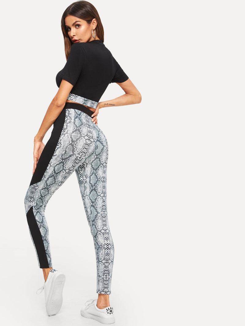 Mock-neck Snake Print Crop Top & Leggings Set