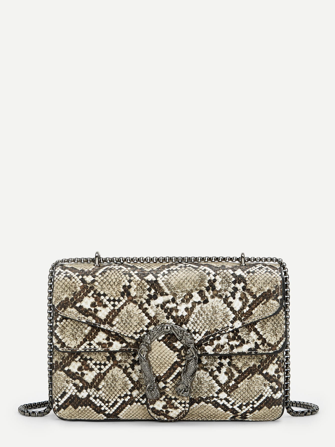 Metal Detail Snakeskin Pattern Crossbody Bag