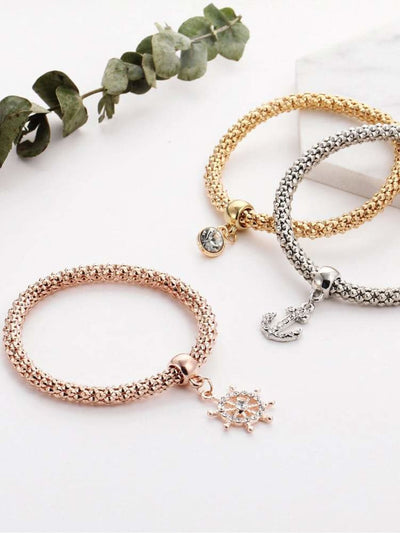 Anchor And Rhinestone Charm Bracelet Set - Bracelets