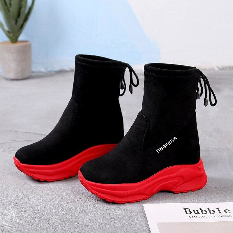 Ankle Suede Leather Breathable Platform Boots - Red / 8.5 - Womens Sneakers