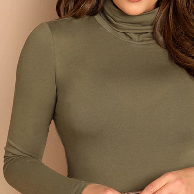 Army Green Turtleneck Slim Fit Office T-Shirt - Blouses