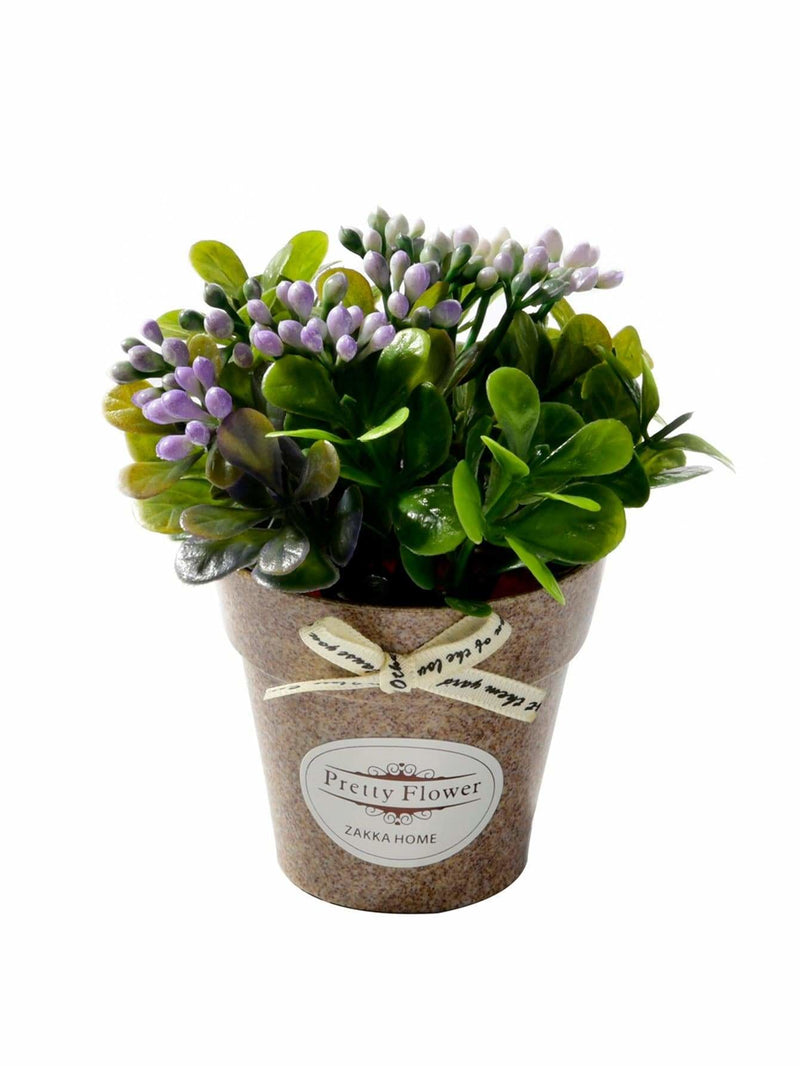 Artificial Flower With Plastic Pot - Vases & Artificial Flowers