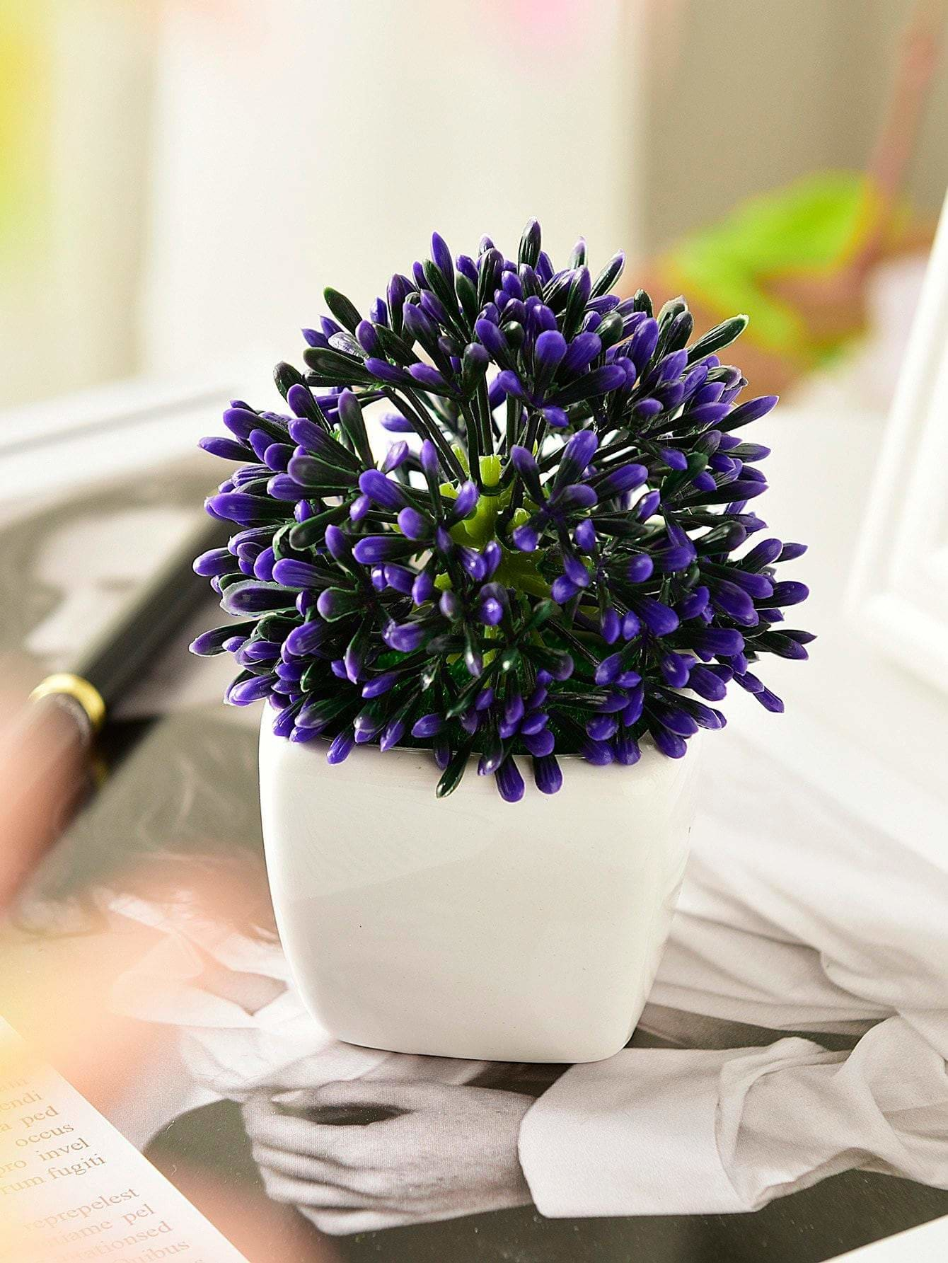 Artificial Plastic Flower In Ceramic Pot - Vases & Artificial Flowers