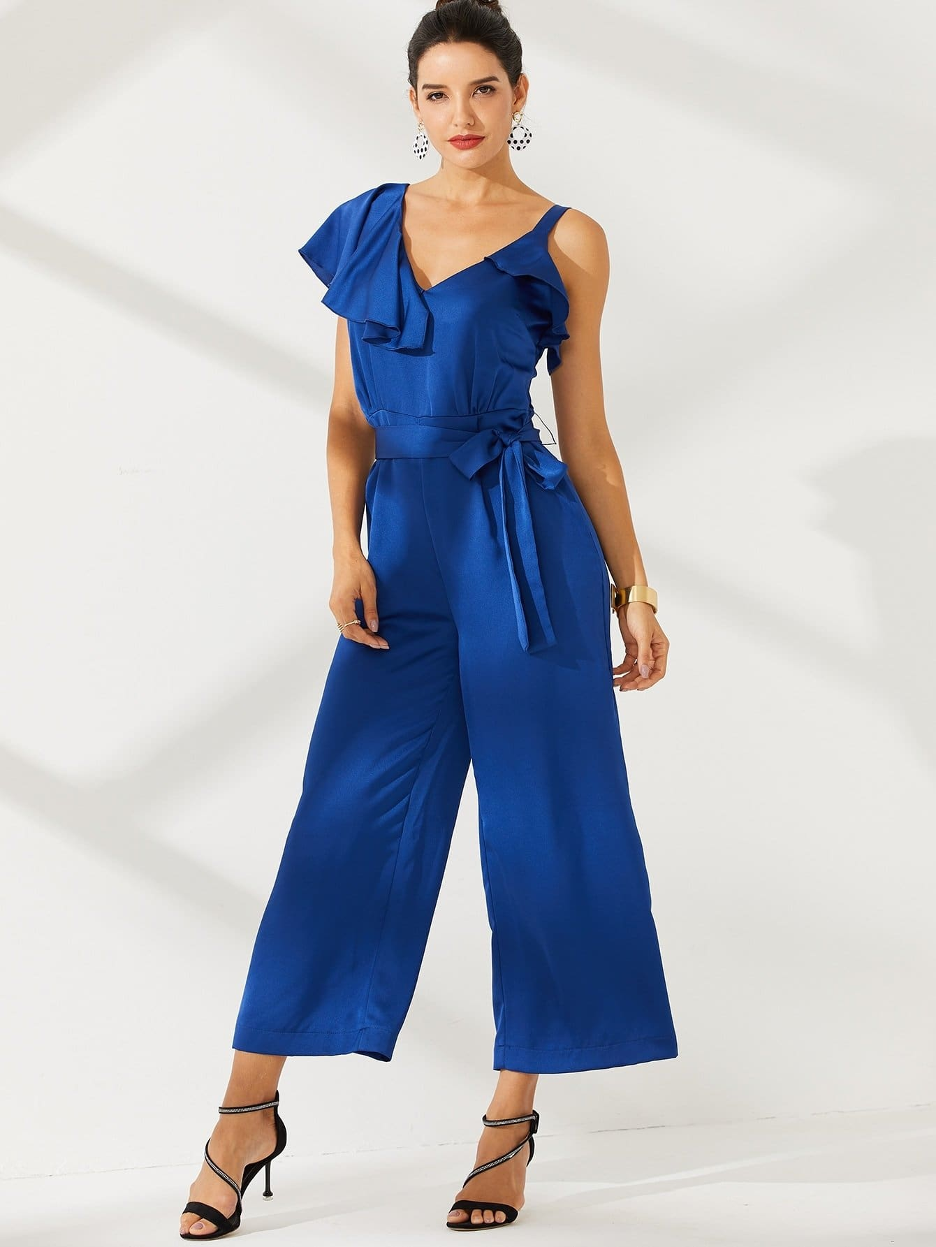 Asymmetrical Neck Belted Wide Leg Jumpsuit