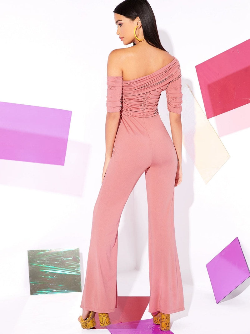 Asymmetrical Neck Ruched Detail Flare Leg Jumpsuit