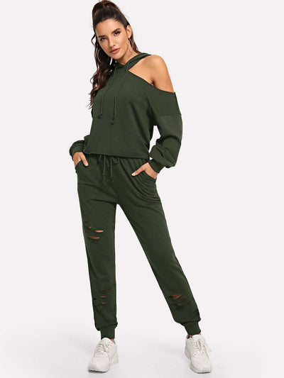 Asymmetrical Shoulder Drawstring Hoodie & Ripped Pants Set - Sportsuit