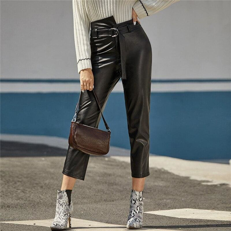 Asymmetrical Waist Belted PU Leather Crop Pants - Black / M
