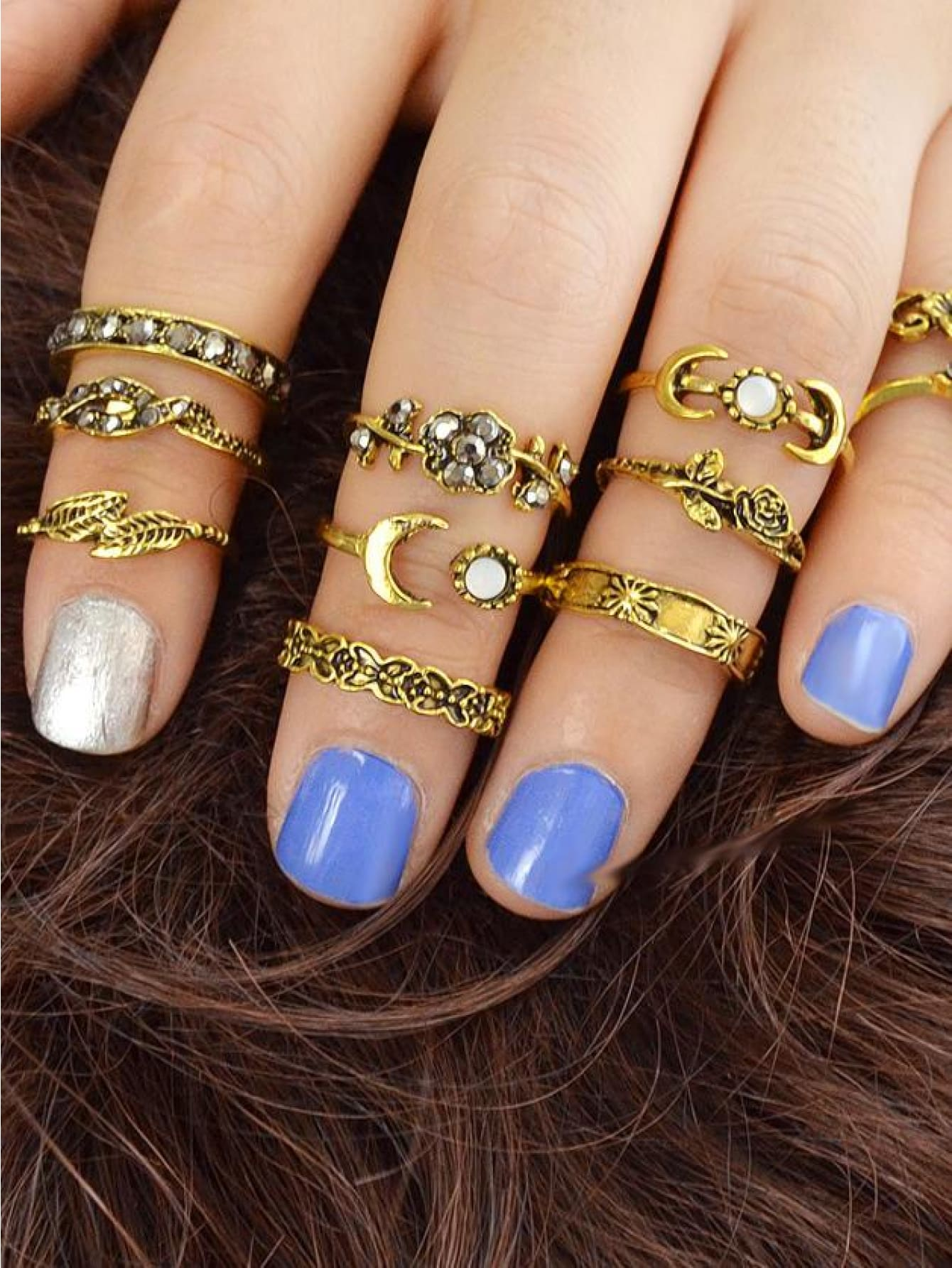 At-Gold 11Pcs/set Moon Flower Leaf Jewelry Rings - Rings