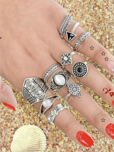 At-Silver 10 Pcs/set Boho Chic Finger Rings Women Accessories - Rings